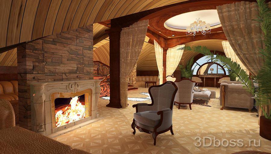 Дизайн мансарды с камином