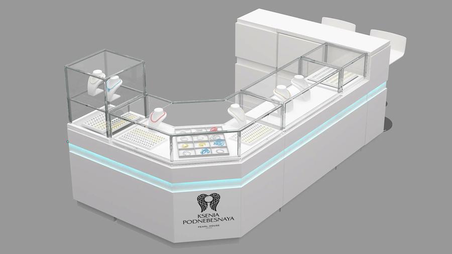 Дизайн торгового острова витрины